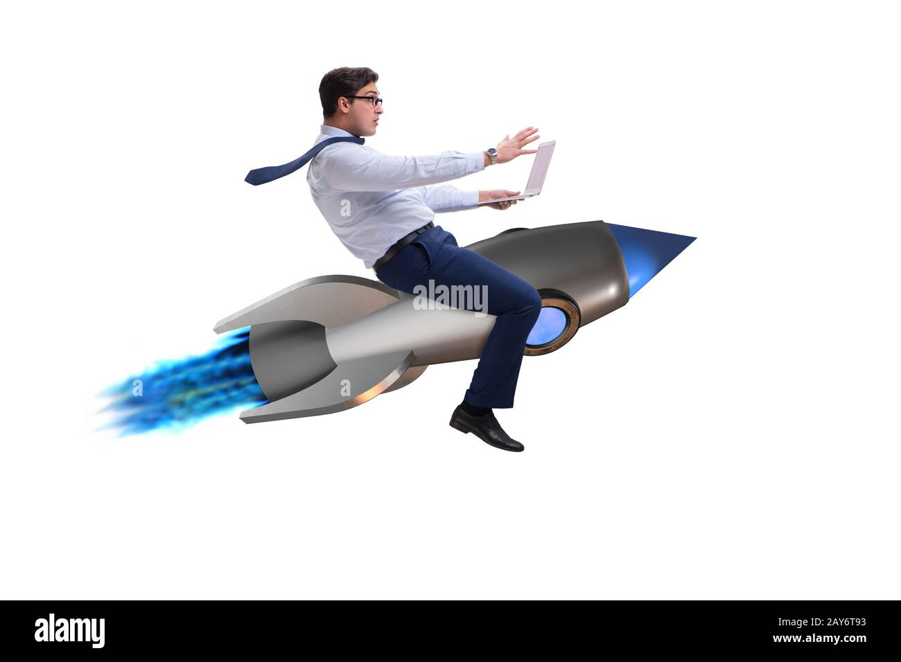 Businessman flying on rocket in business concept Stock Photo