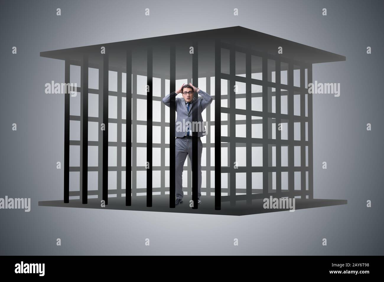 Businessman in the cage business concept Stock Photo