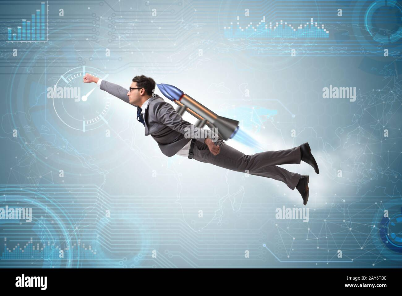 Businessman flying with rocket in funny business concept Stock Photo