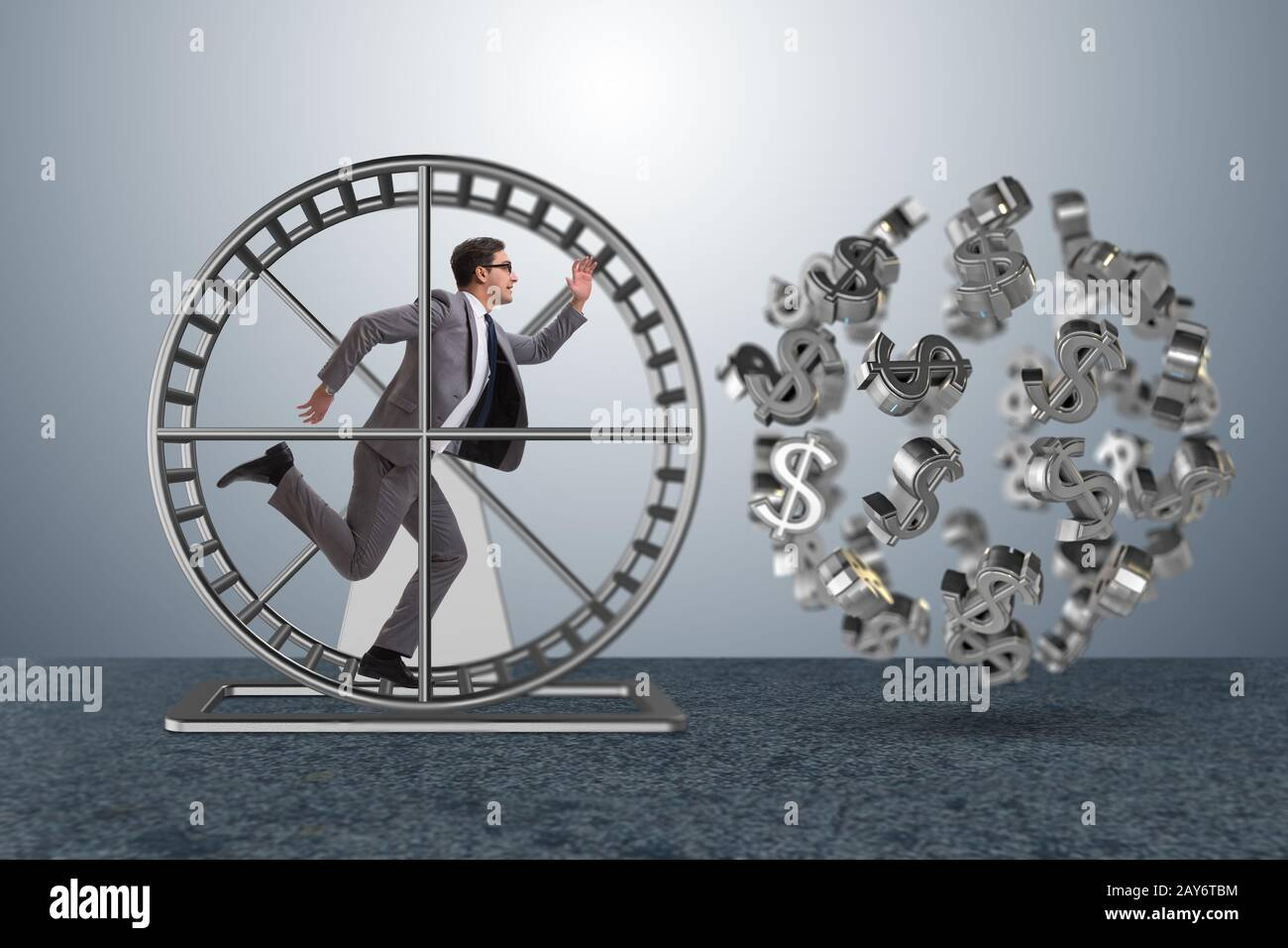 Business concept with businessman running on hamster wheel Stock Photo