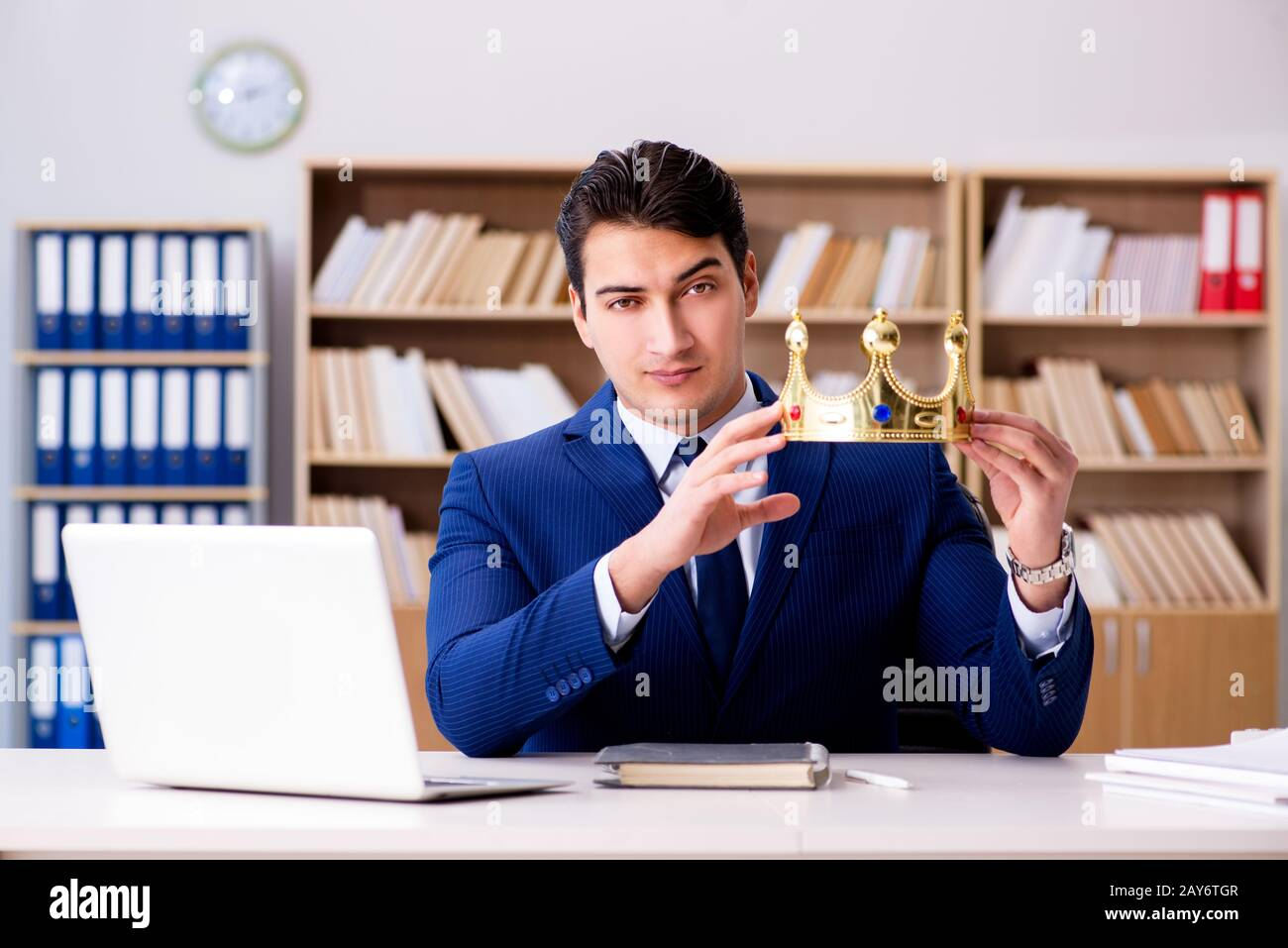 King businessman working in the office Stock Photo