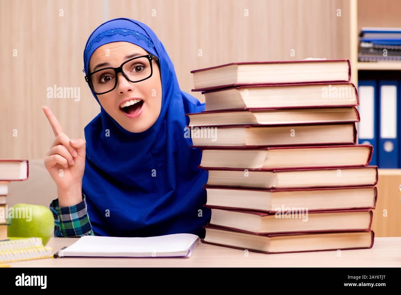 Muslim girl preparing for entry exams Stock Photo