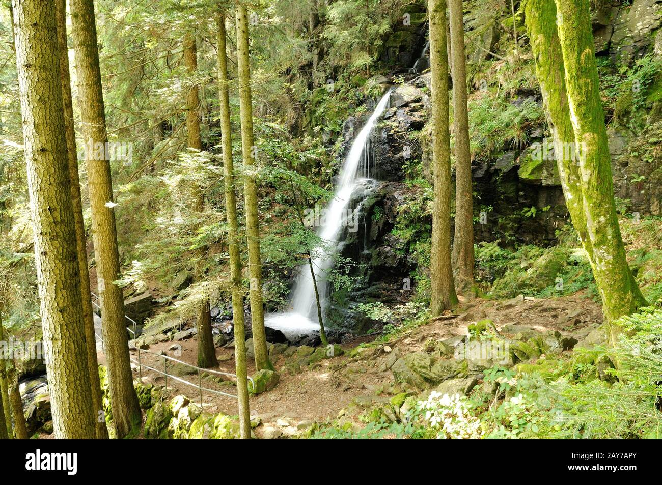 At the upper part of the Zweribach waterfall in Simonswald Black Forest Germany Stock Photo