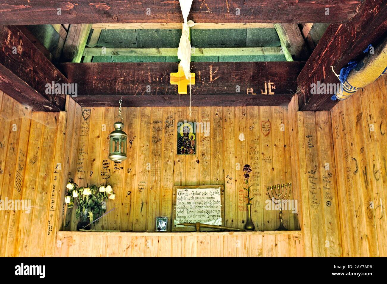 Inside the chapel at the Zweribach waterfall Simonswald Black Forest Germany Stock Photo