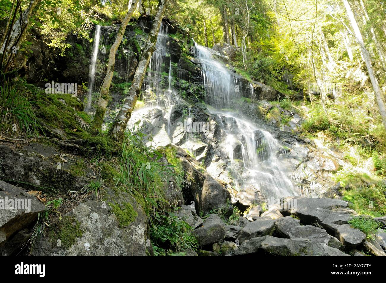 Zweribach waterfal-the lower part of the waterfall Simonswald Black Forest Germany Stock Photo