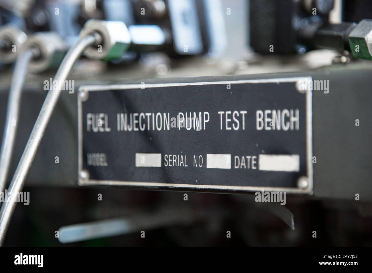 close-up high pressure diesel fuel pump test bench Stock Photo