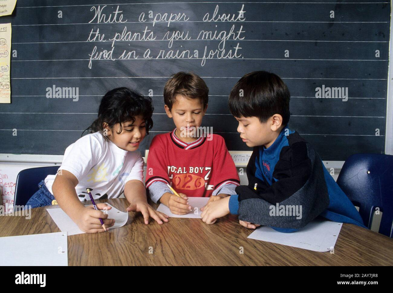 Essay writing by third graders for reading/science unit. ©Bob Daemmrich Stock Photo