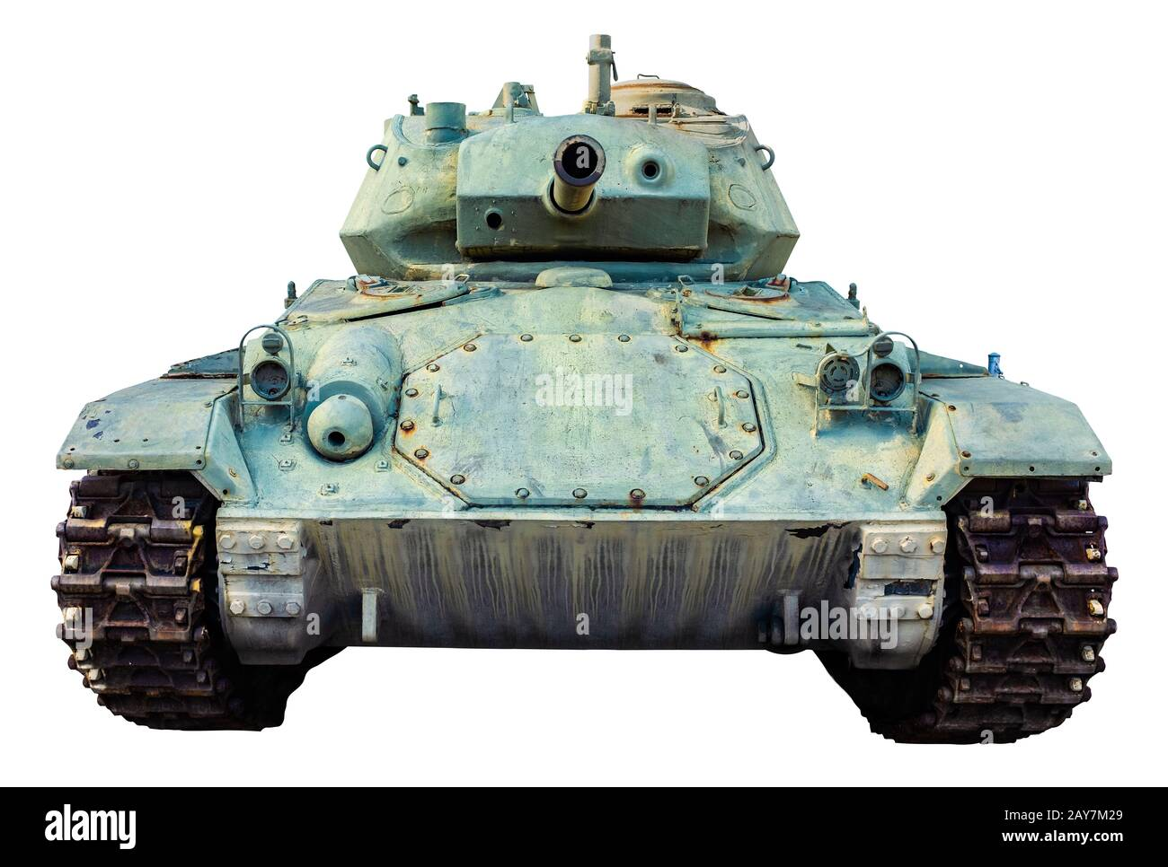 Vintage Isolated Green US Military World War II Light Tank Stock Photo