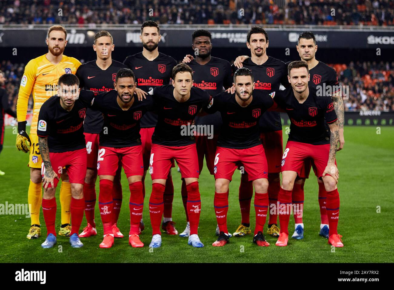 Mestalla Valencia Spain 14th Feb 2020 La Liga Football Valencia Versus Atletico Madrid Atletico De Madrid Squad Lines Up Prior To The Game Credit Action Plus Sports Alamy Live News Stock Photo