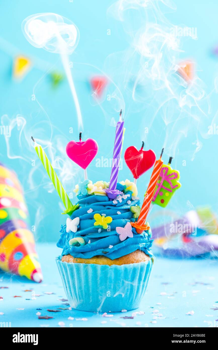 Fine Colorful Decorated Cupcake With Candles Blow Up Stock Photo Funny Birthday Cards Online Unhofree Goldxyz