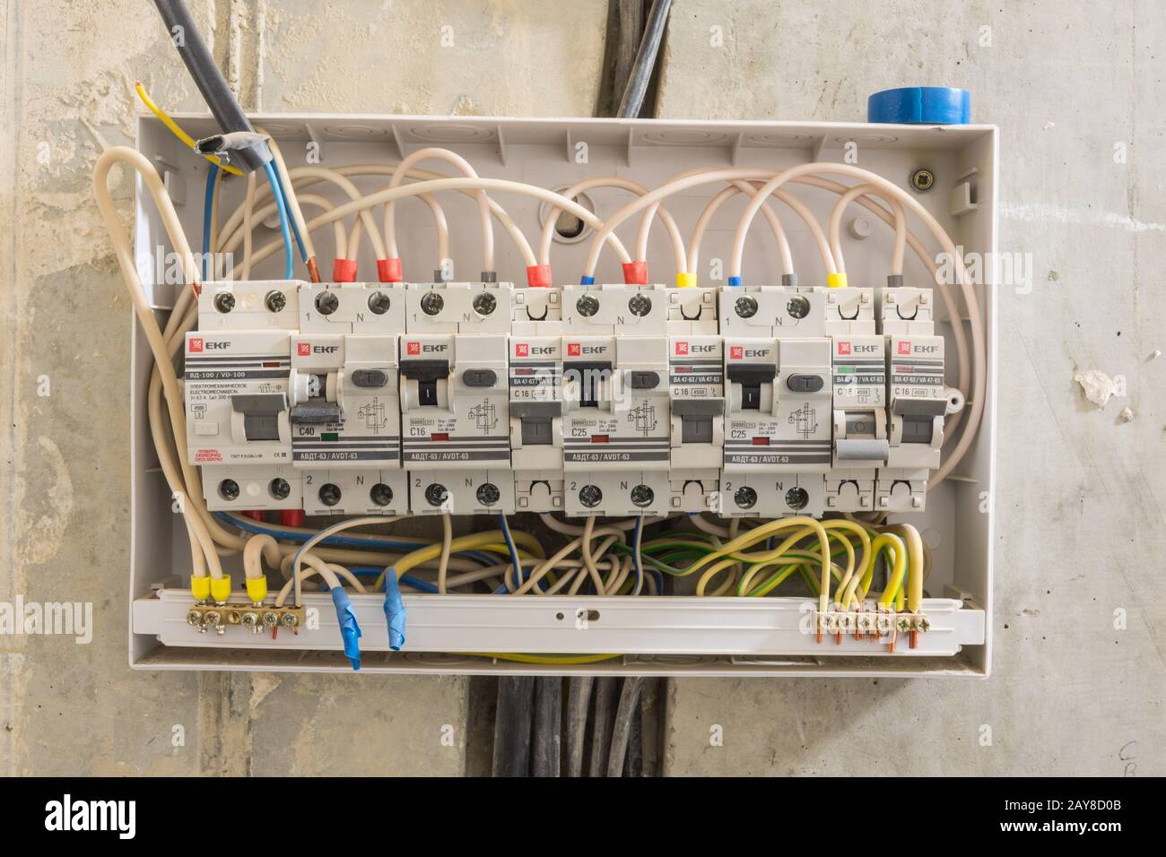 Electric Board In The Apartment In Which Differential Automata And Circuit Breakers Are Installed Stock Photo Alamy