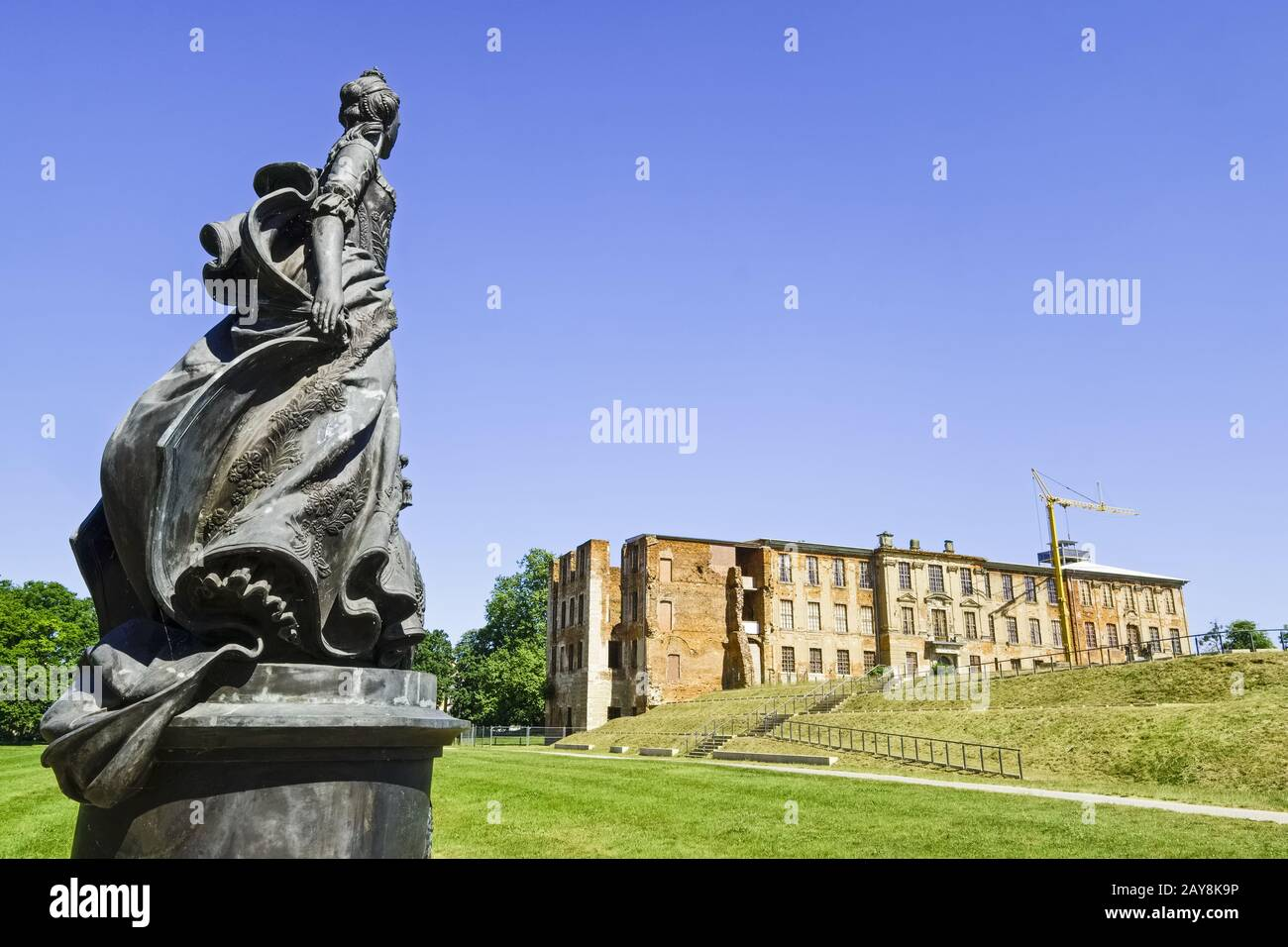 Monument Katharina II., east wing of Zerbst Castle, Zerbst/Anhalt, Saxony-Anhalt, Germany Stock Photo