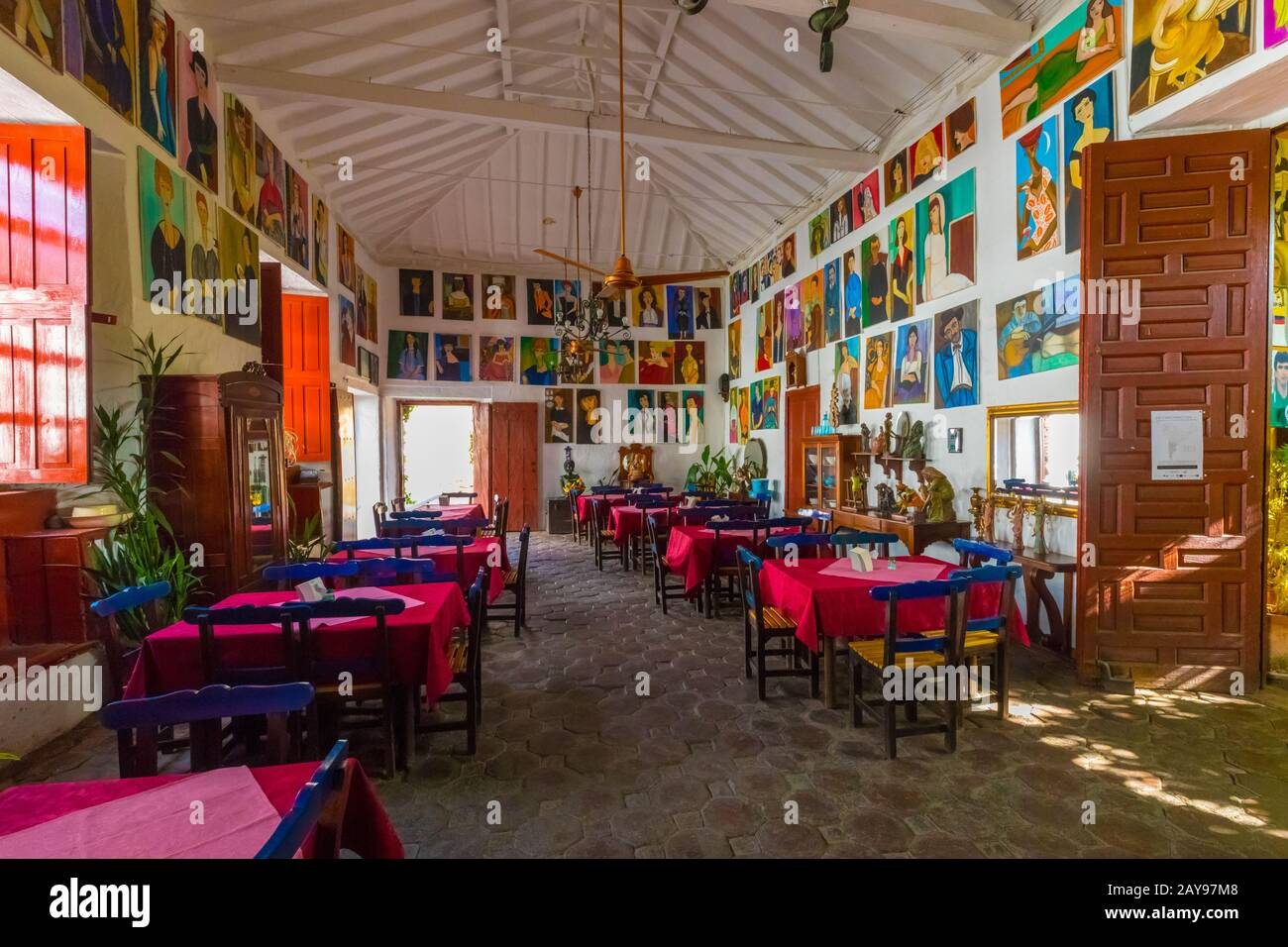 typical historic restaurant in the city of Santa Fe of Antioquia Colombia Stock Photo