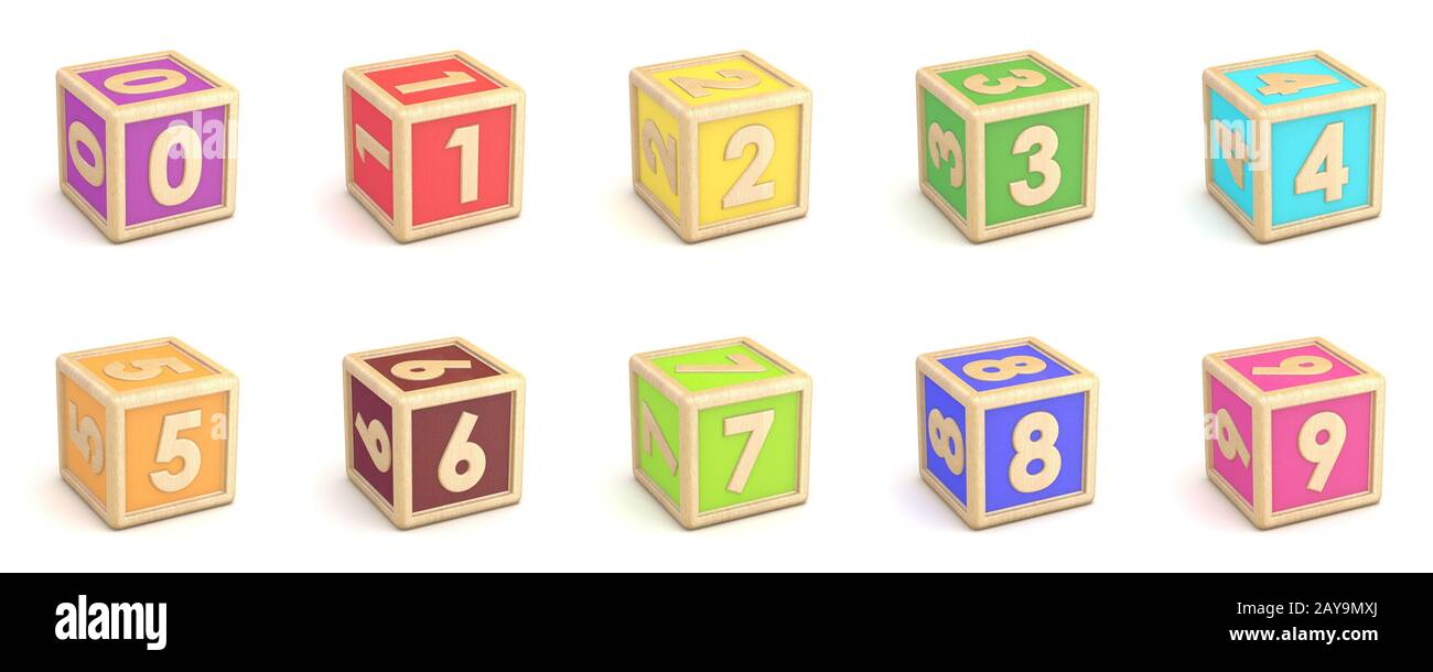 Number collection wooden alphabet blocks font 3D Stock Photo