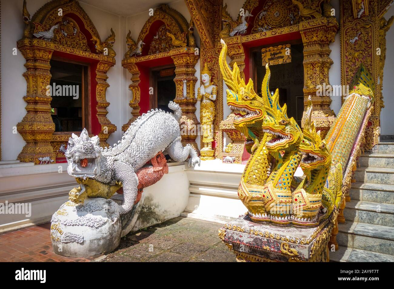 Statues in Wat Buppharam temple, Chiang Mai, Thailand Stock Photo