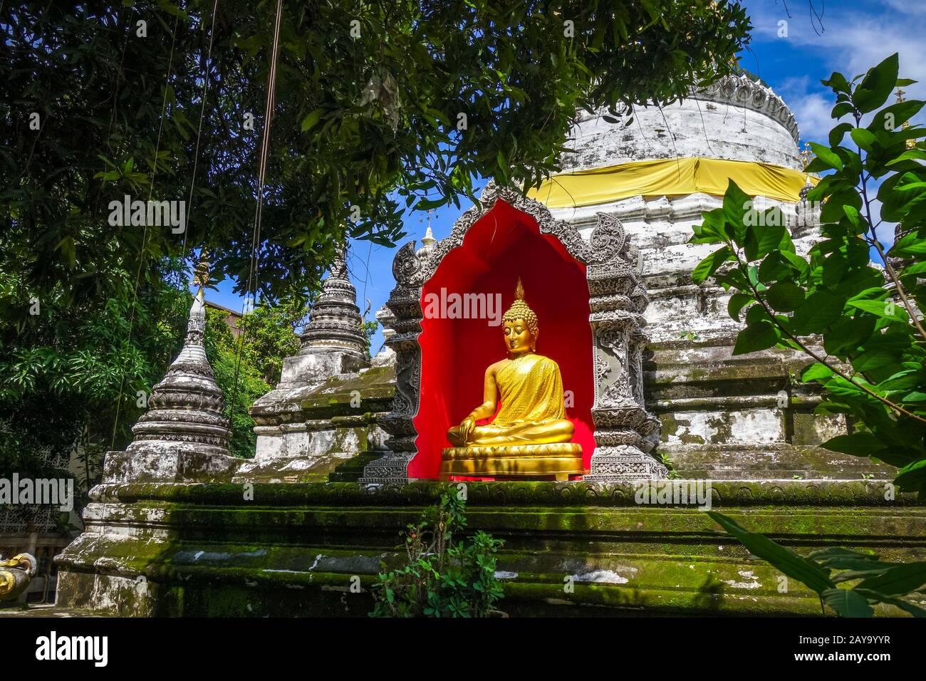 Wat Buppharam temple pagoda, Chiang Mai, Thailand Stock Photo