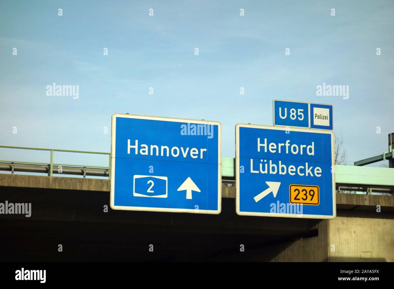 highway sign, hannover, a2, herford, luebbecke, b 239, u85 Stock Photo