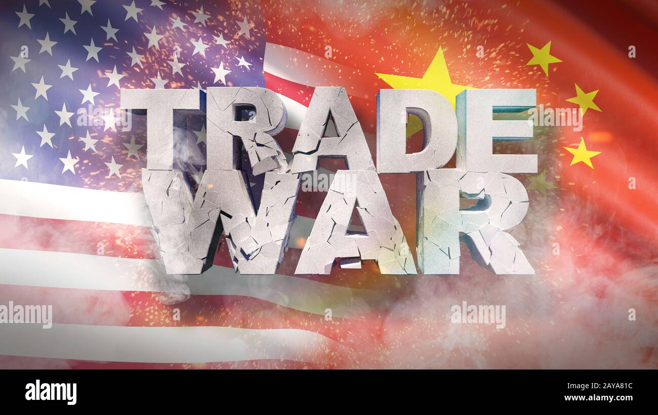 USA and China relationship concept. Cracked text Trade war on flag. 3D illustration. Stock Photo