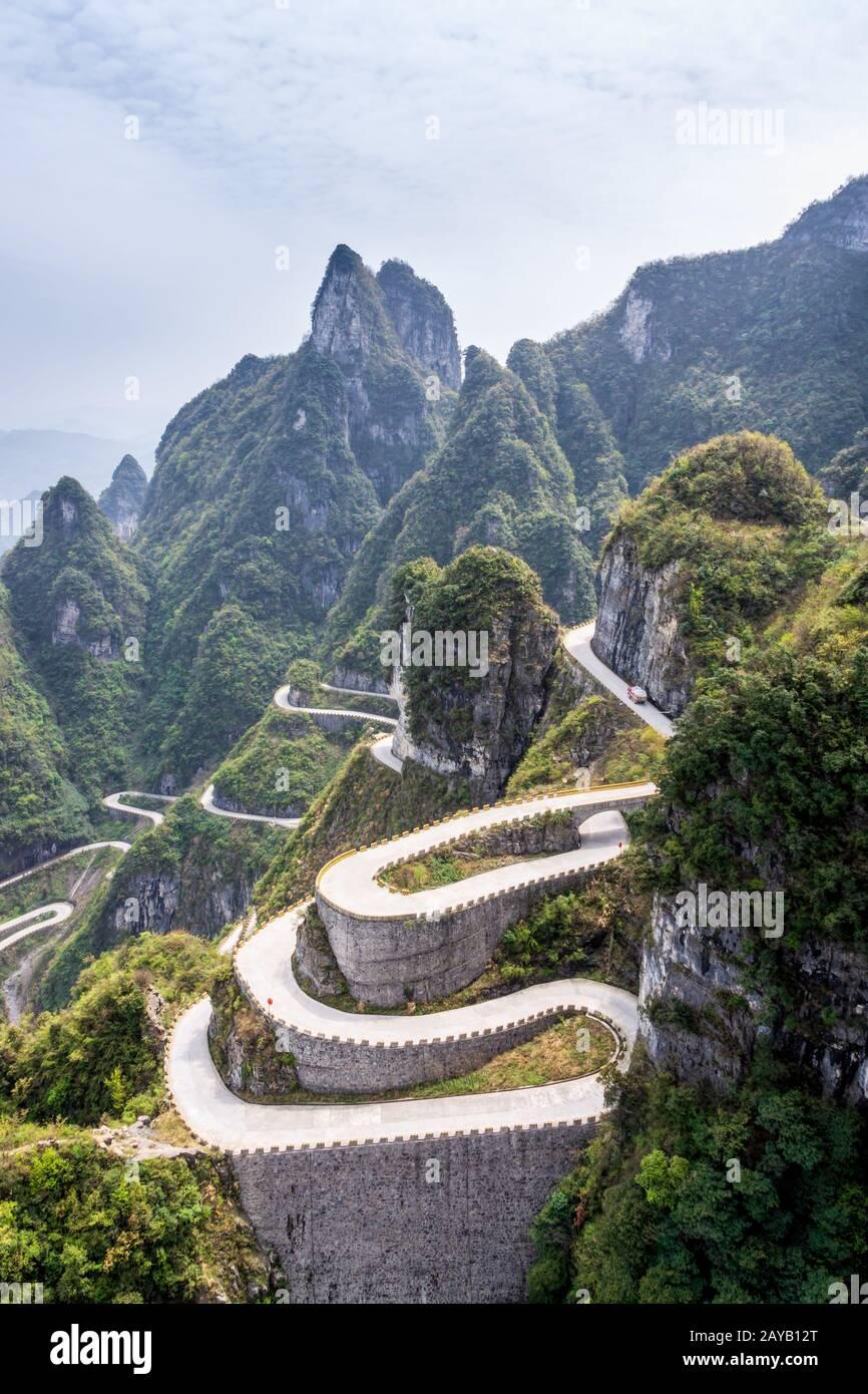 The winding road of Tianmen Mountain, Zhangjiajie National Park Stock Photo