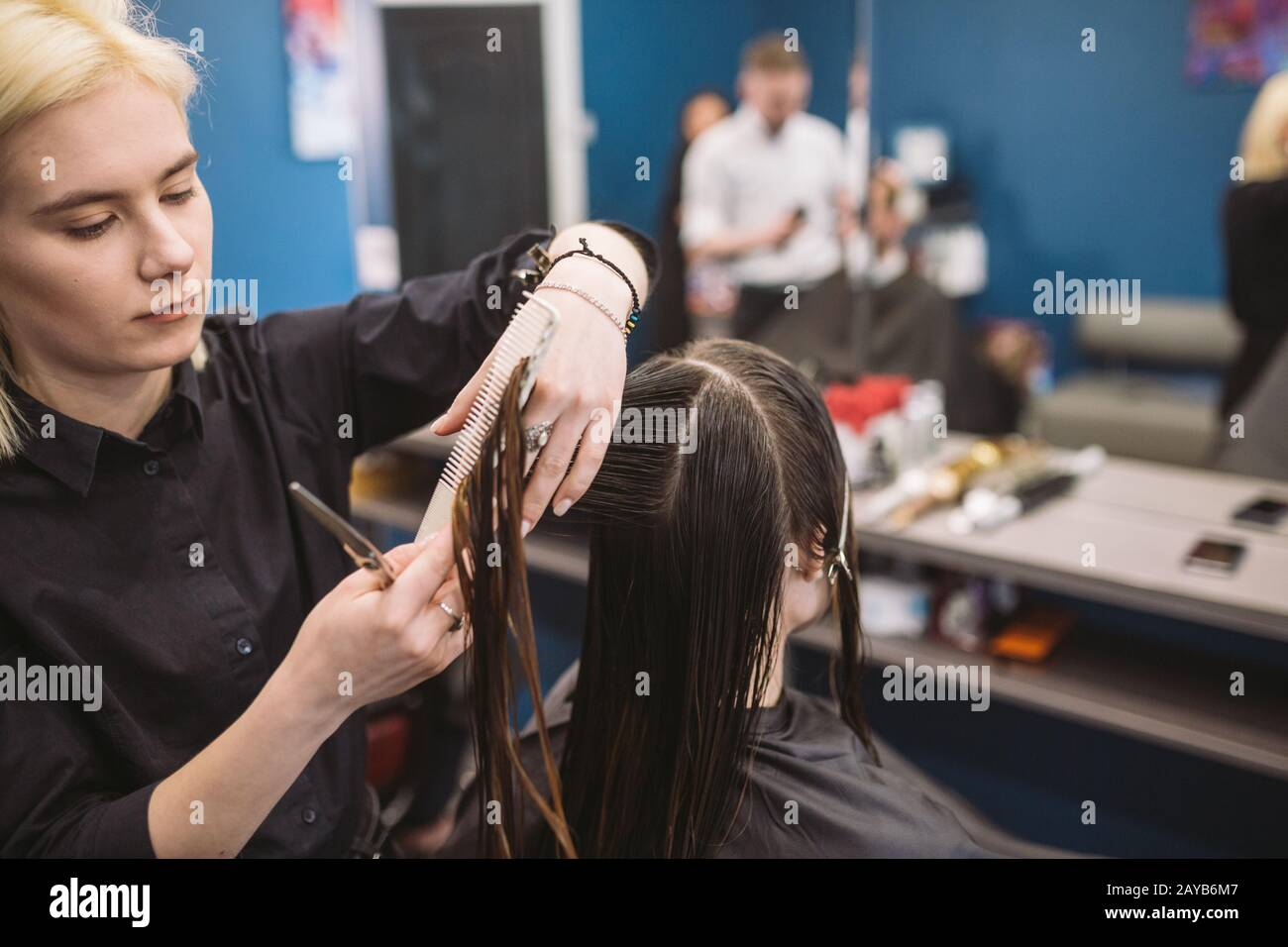 hairdresser holding scissors and comb and makes haircut woman client. Young beautiful woman hair cut in beauty salon. Process of Stock Photo