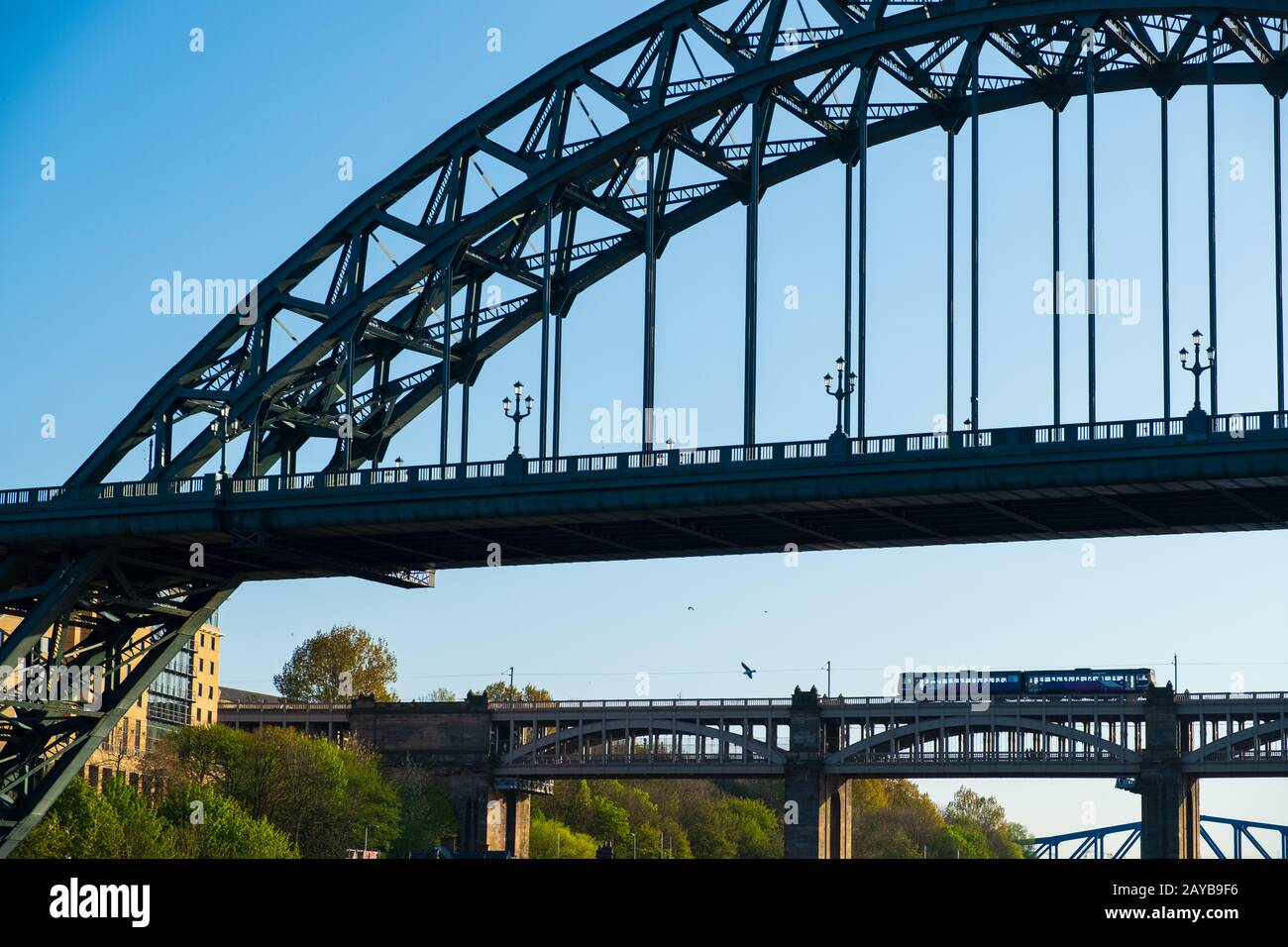 View of sections of  Tyne Bridge and High Level Bridge in the distance in Newcastle upon tyne, England Stock Photo