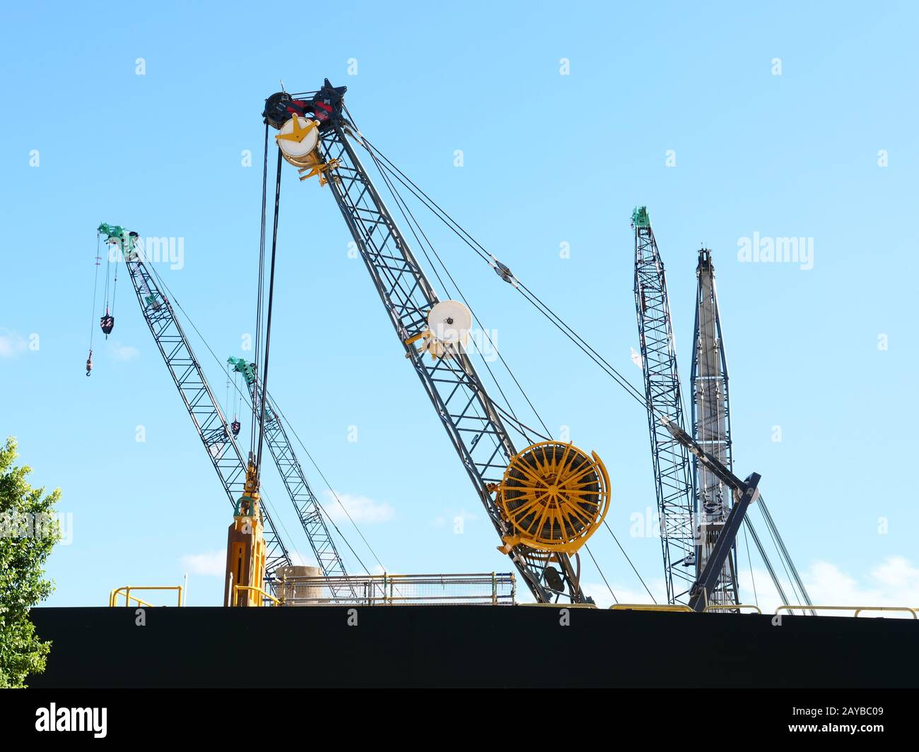 Unusual construction crane seen in the harbour area of Perth Australia on a construction site. Stock Photo
