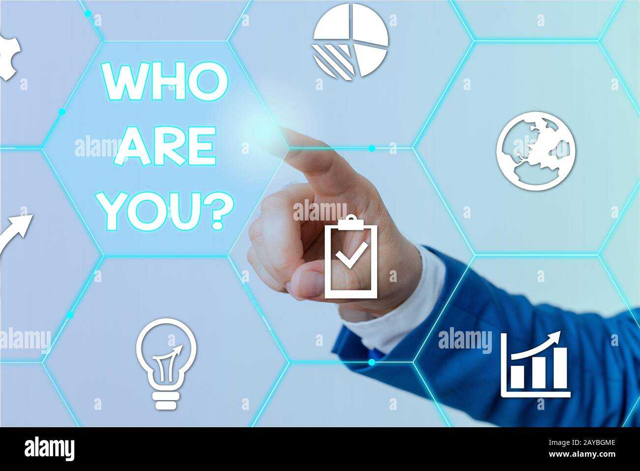 Text sign showing Who Are You question. Conceptual photo asking demonstrating identity or demonstratingal information. Stock Photo