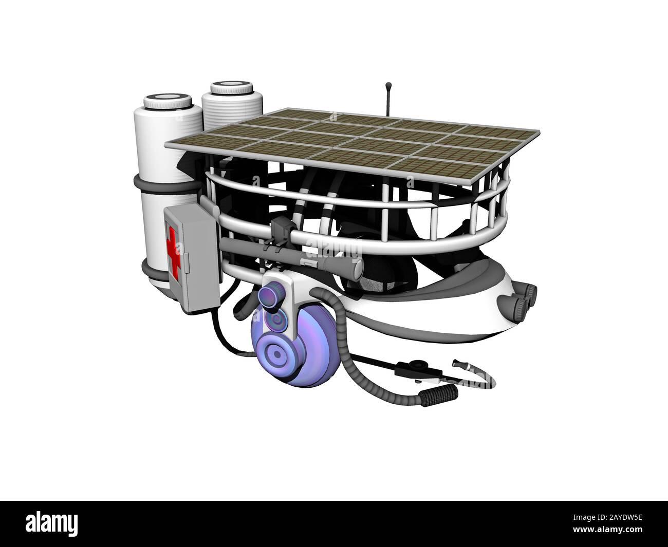 Solar helmet with headphones and microphone Stock Photo