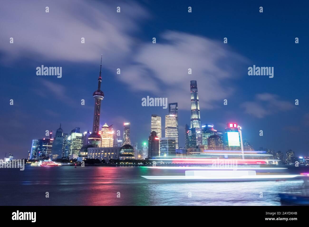 shanghai night scene Stock Photo