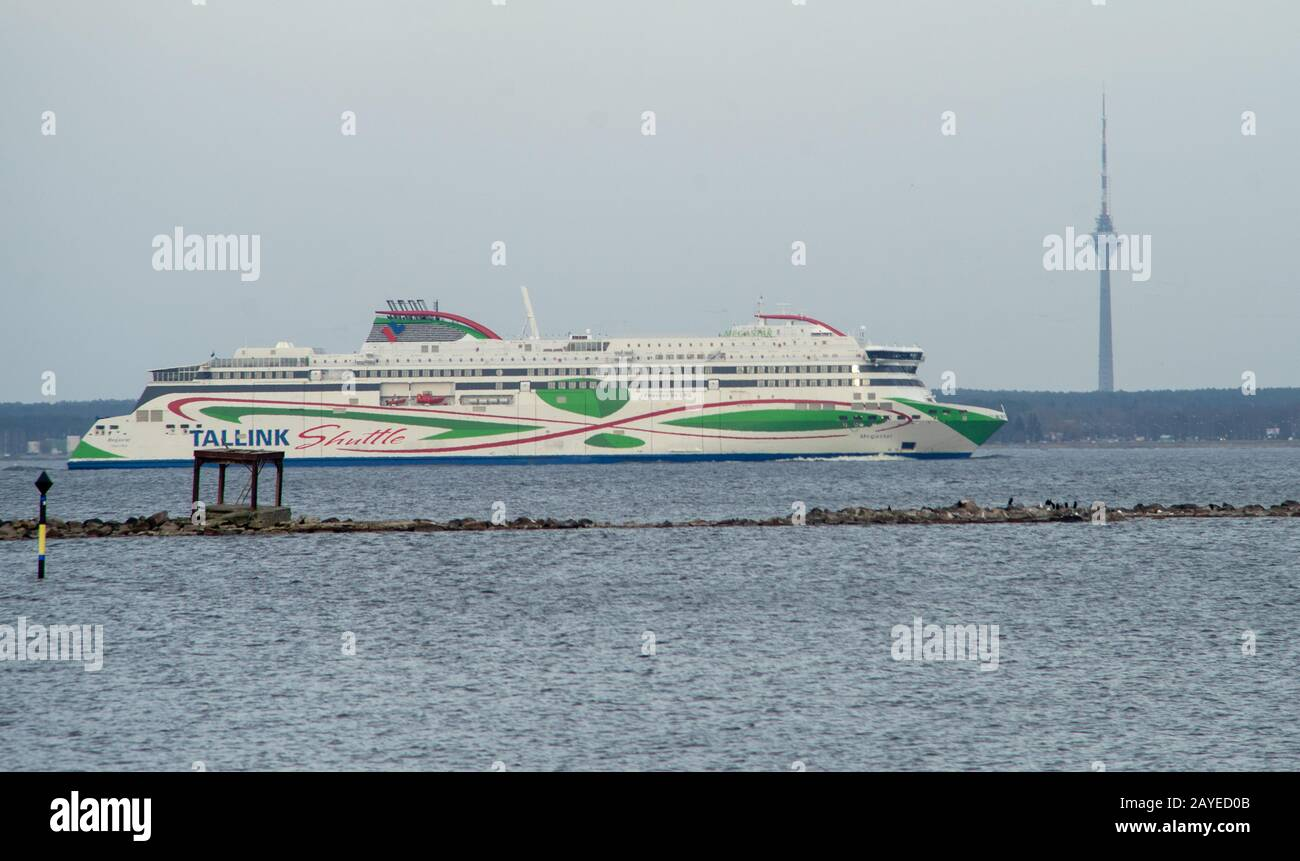 20 April 2019, Tallinn, Estonia. High-speed passenger and car ferry of the Estonian shipping concern Tallink MEGASTAR in the port of Tallinn. Stock Photo