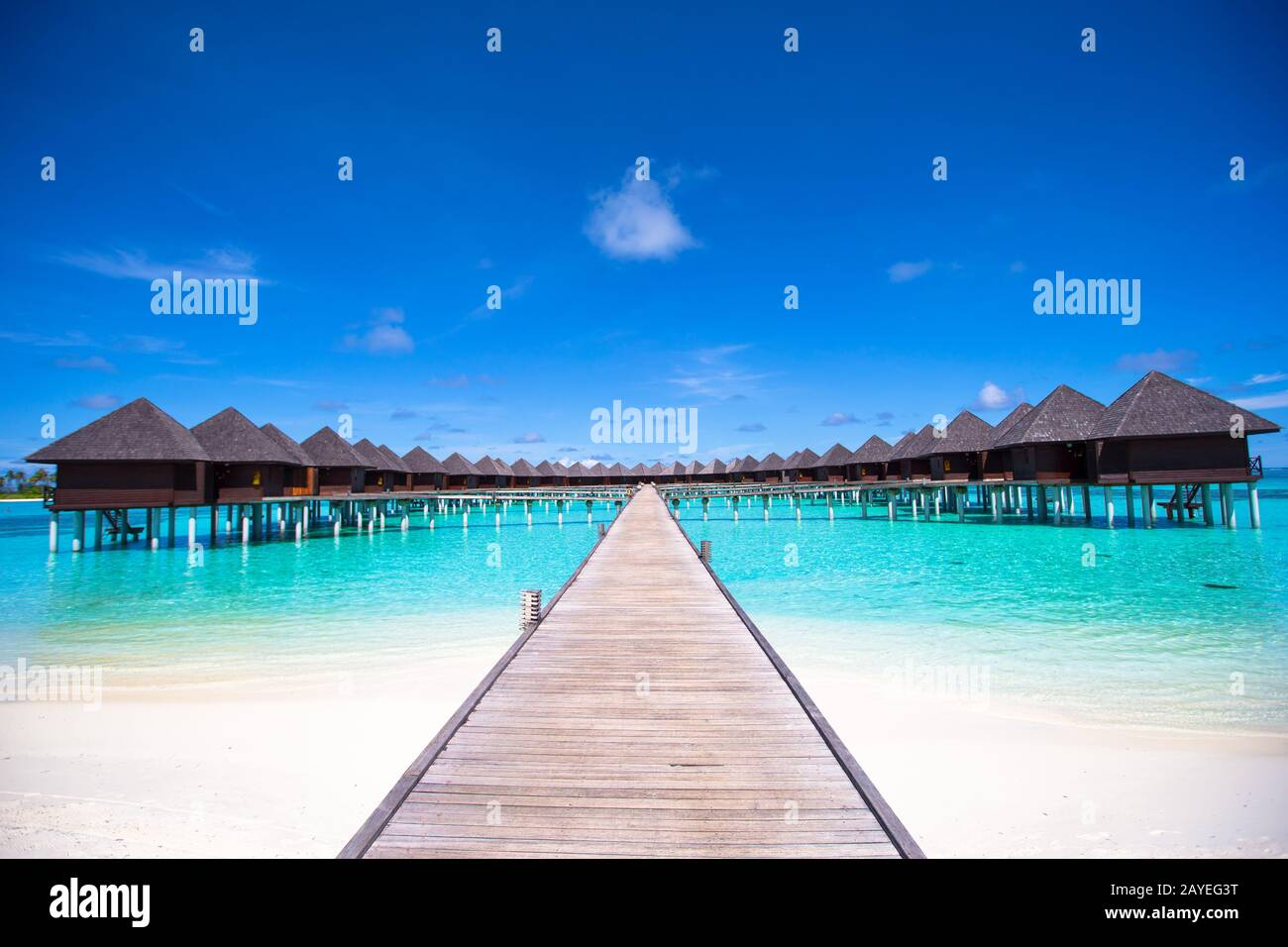 Water bungalows and wooden jetty on Maldives Stock Photo