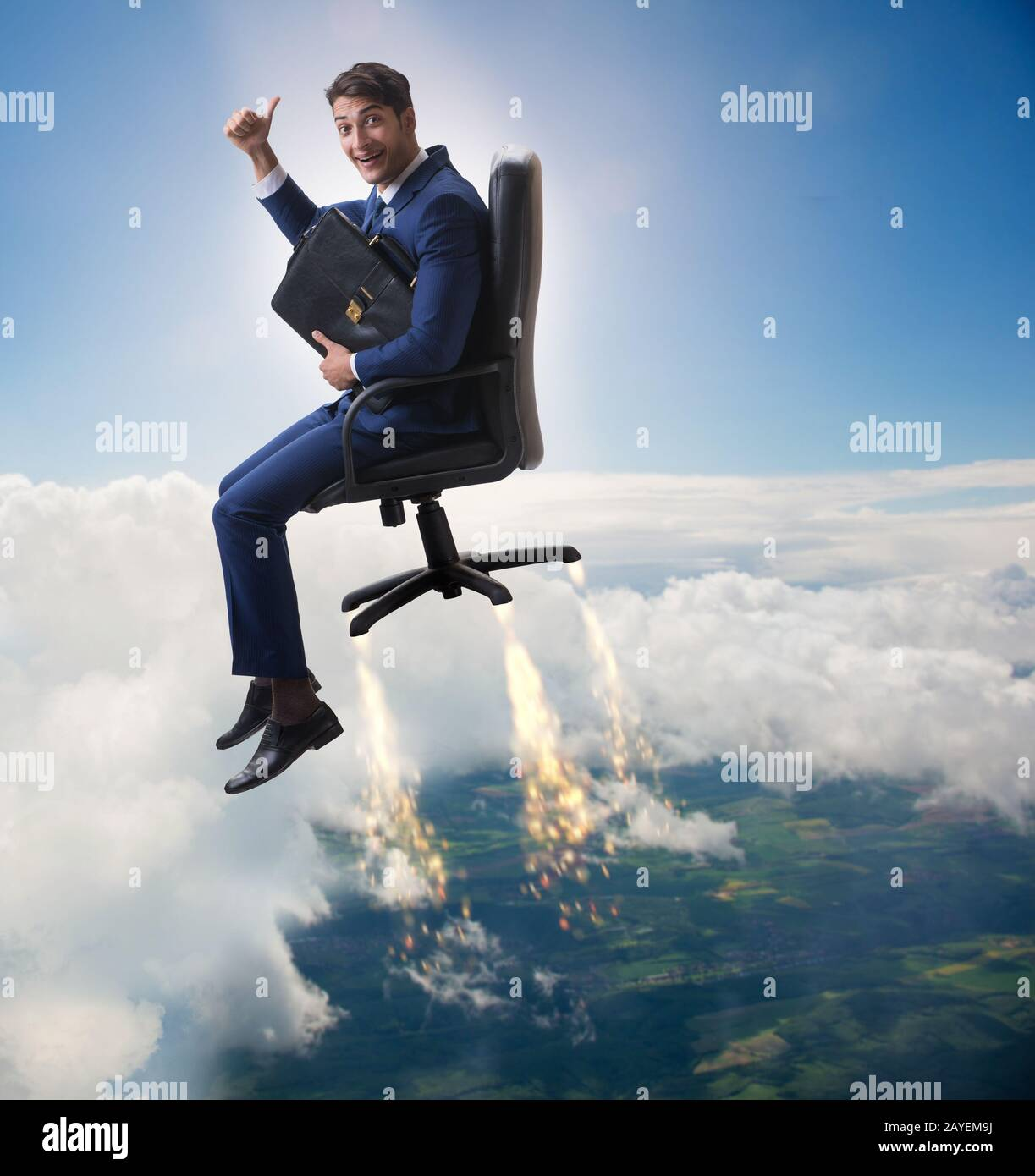 Businessman in career progression concept Stock Photo