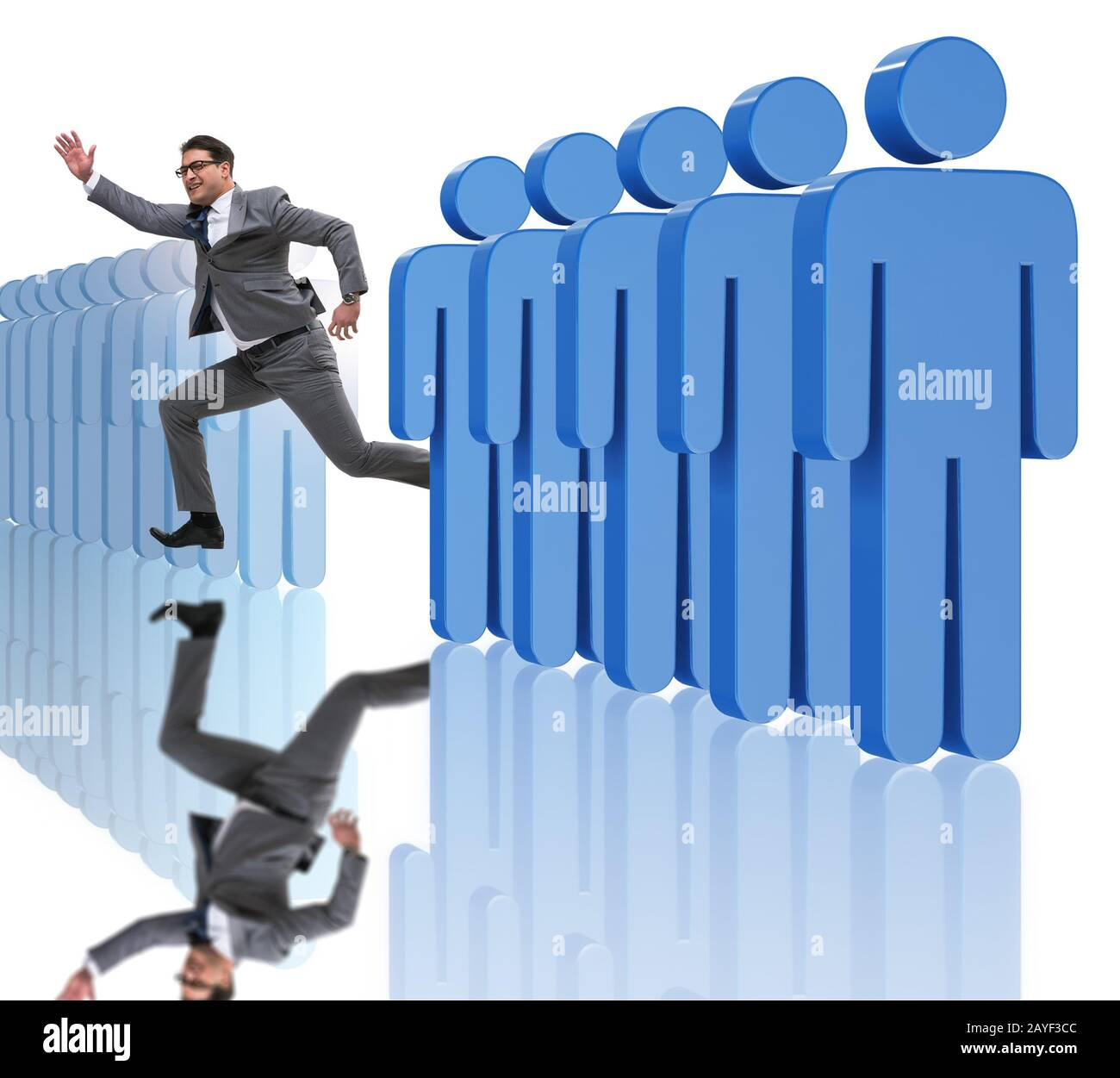 Standing out from crowd concept with businessman Stock Photo
