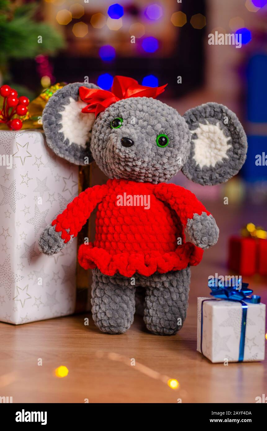 The plush mouse was given to children in the new year Stock Photo