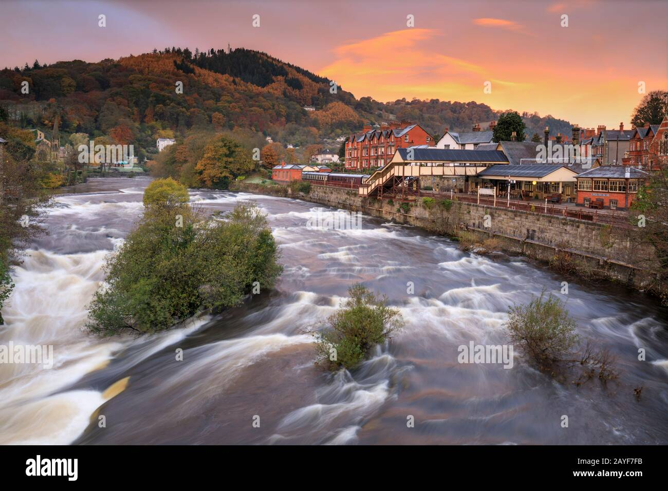 The River Dee at Llangollen captured at sunrise. Stock Photo