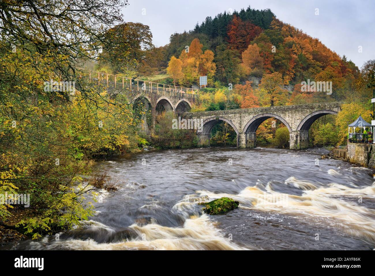 The River Dee at Berwyn Station in North Wales. Stock Photo