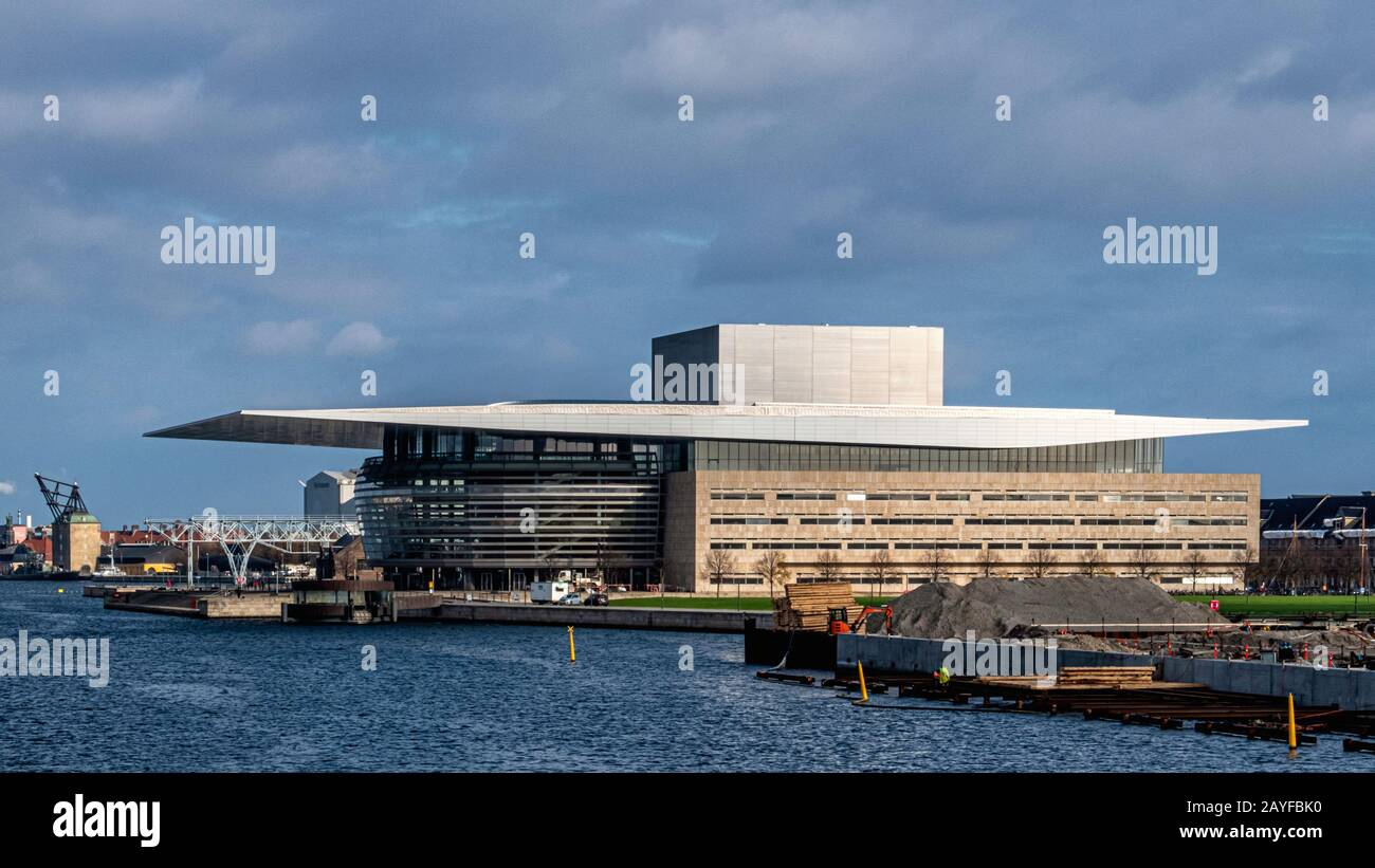 The Copenhagen Opera House. Modern building on the island of Holmen designed by Architect Henning Larsen is the national opera house of Denmark Stock Photo