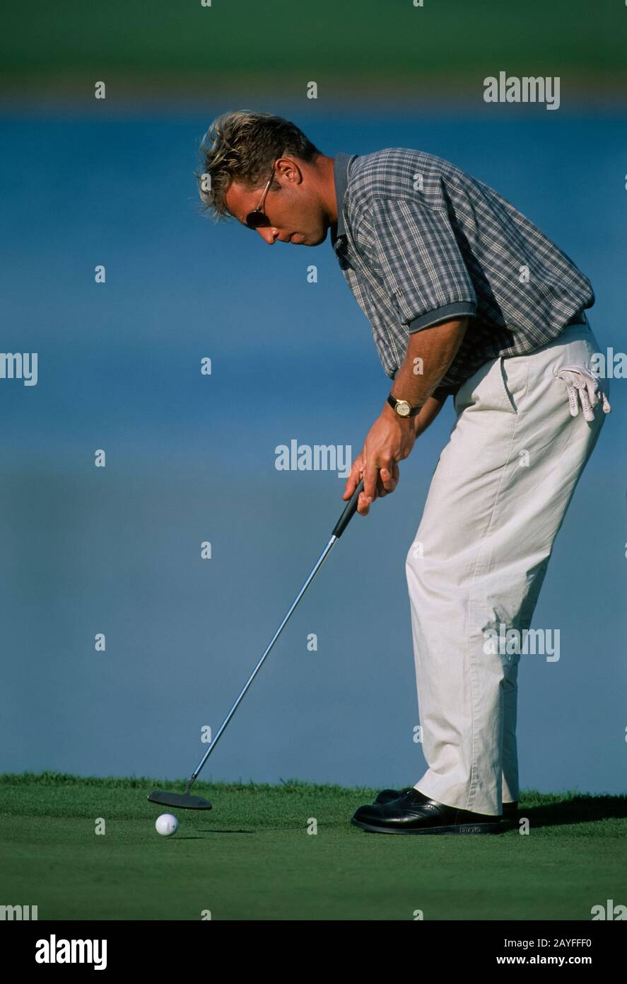 Per Ulrik Johansson of Sweden putting for birdie on the 17th hole during the Dubai Desert Classic 1996, 19th-22nd January - Emirates Golf Club, Dubai, Stock Photo