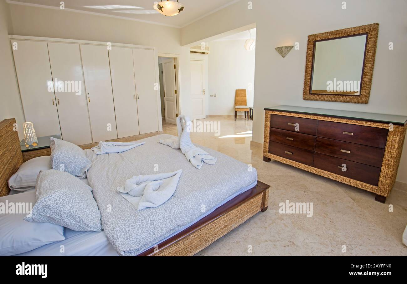 Interior Design Decor Furnishing Of Luxury Show Home Double Bedroom With Furniture Stock Photo Alamy