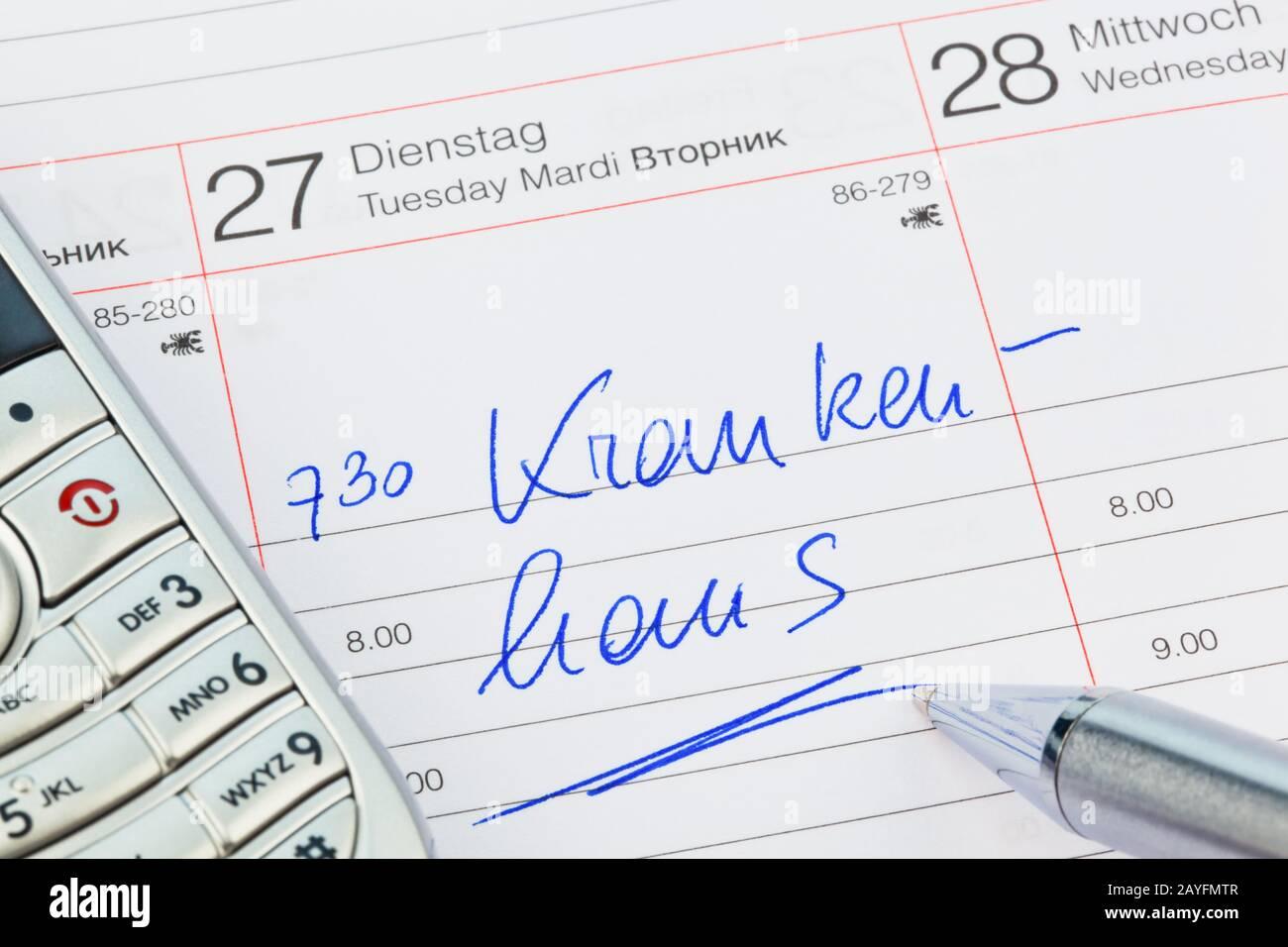 Ein Termin ist in einem Kalender eingetragen: Krankenhaus Stock Photo