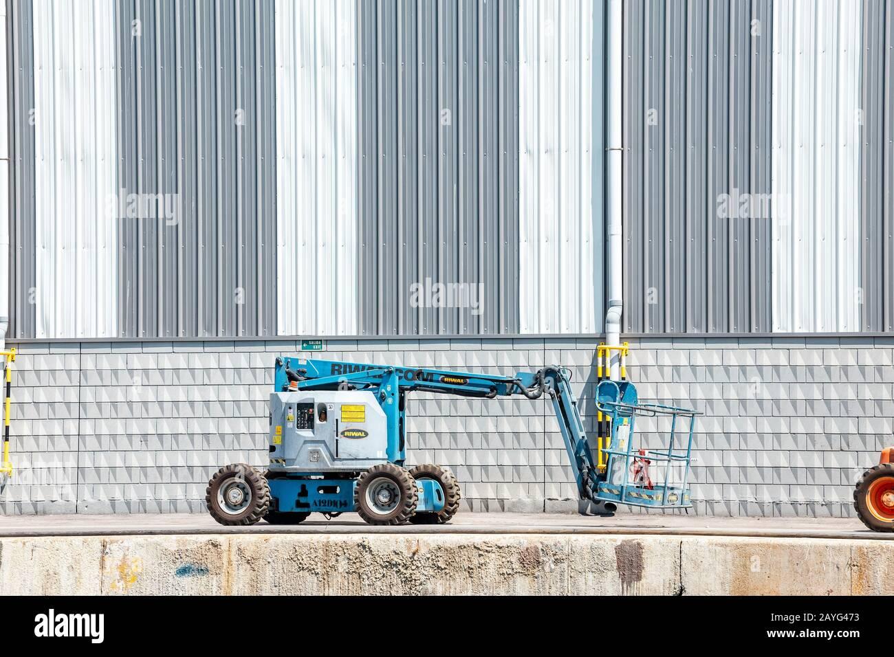 29 JULY 2018, BARCELONA, SPAIN: Telescopic elevator in industrial site Stock Photo