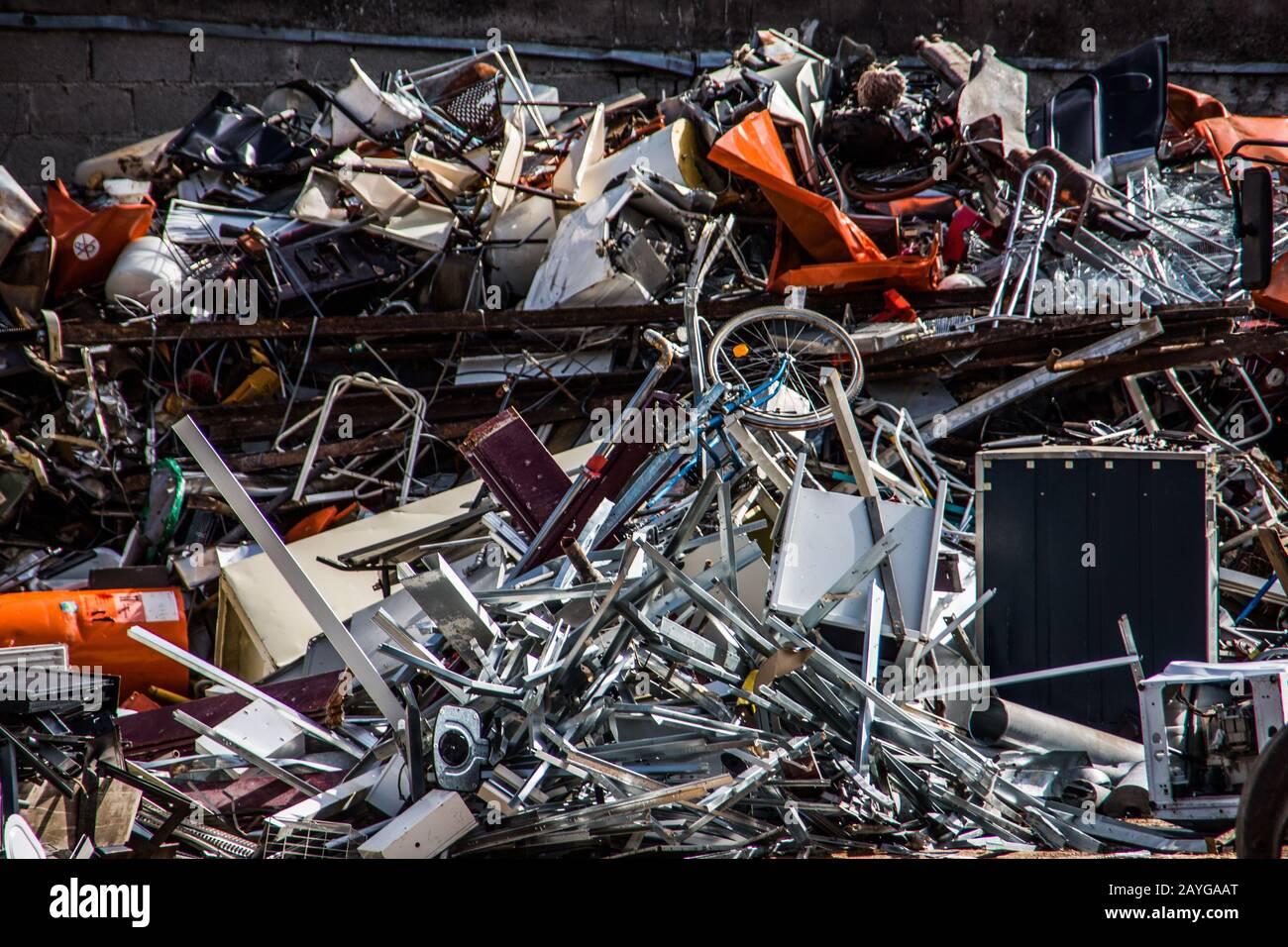 Scrap metal in the junkyard Stock Photo