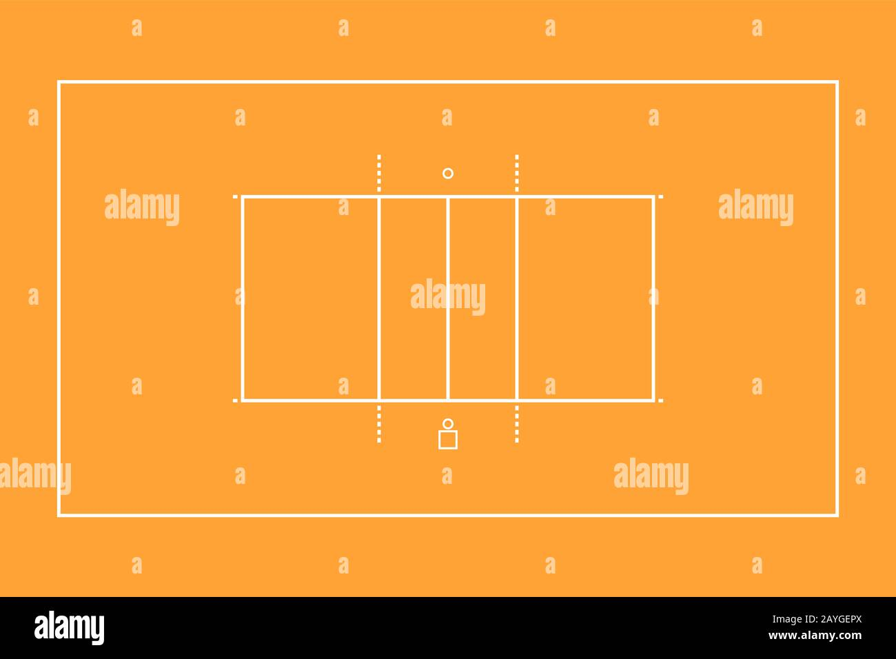 Illustration Of A Sports Volleyball Court Top View For Easy Use In Strategy Or Background White Marking Lines On Orange Flat Style Stock Photo Alamy
