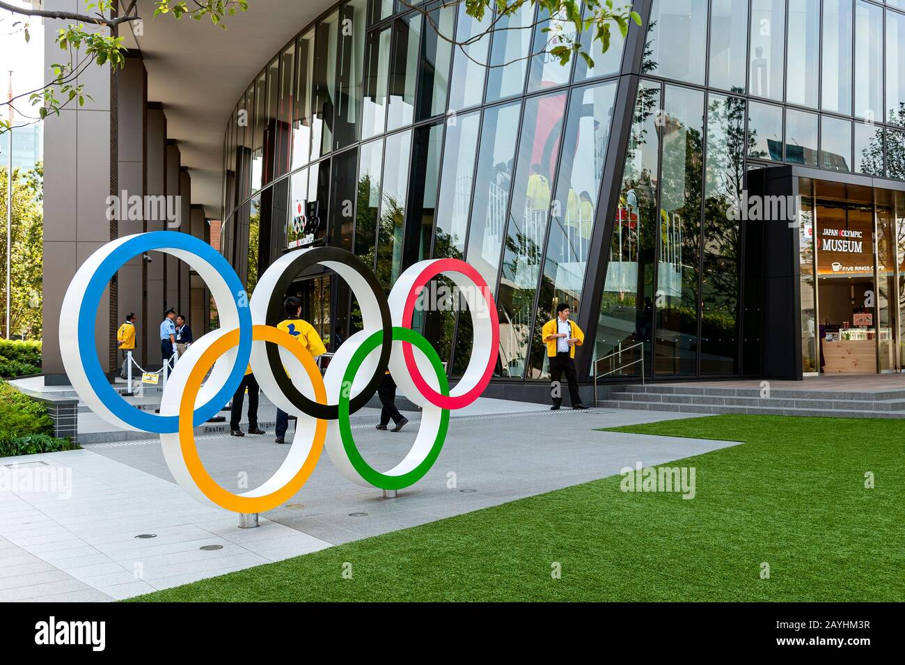Olympic Rings outside Japan Olympic Museum Japan Sport Olympic Square Tokyo Stock Photo