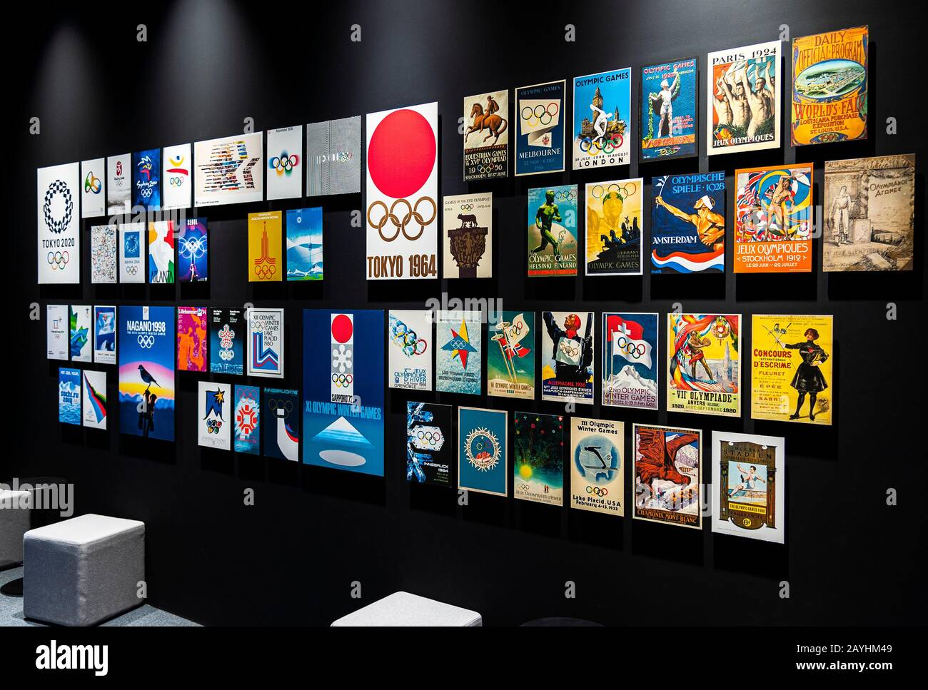 Olympic posters collection at Japan Olympic Museum Japan Sport Olympic Square Tokyo Stock Photo