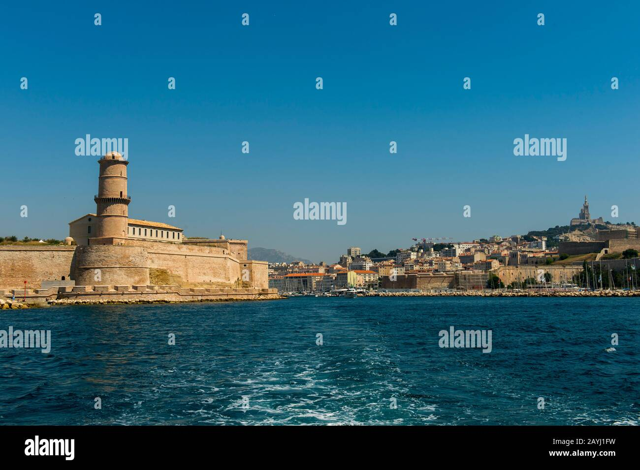 View from a boat of Fort St. Jean and the entrance to the Vieux Port (old port) in Marseille, France. Stock Photo