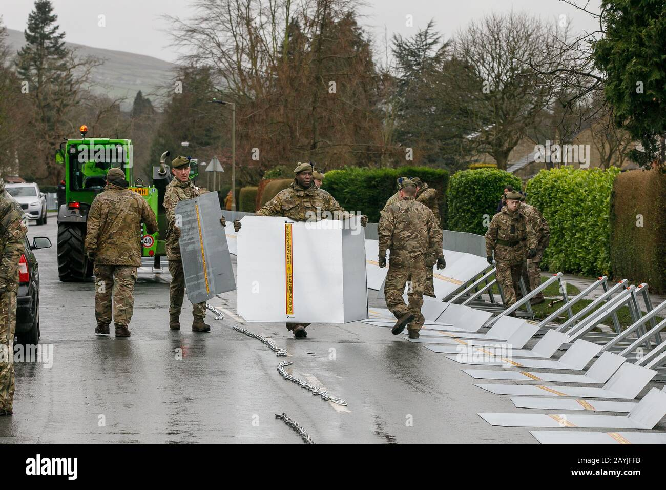 Army errecting flood barriers in Ilkley West Yorkshire, in preparation for arrival of Storm Dennis Stock Photo