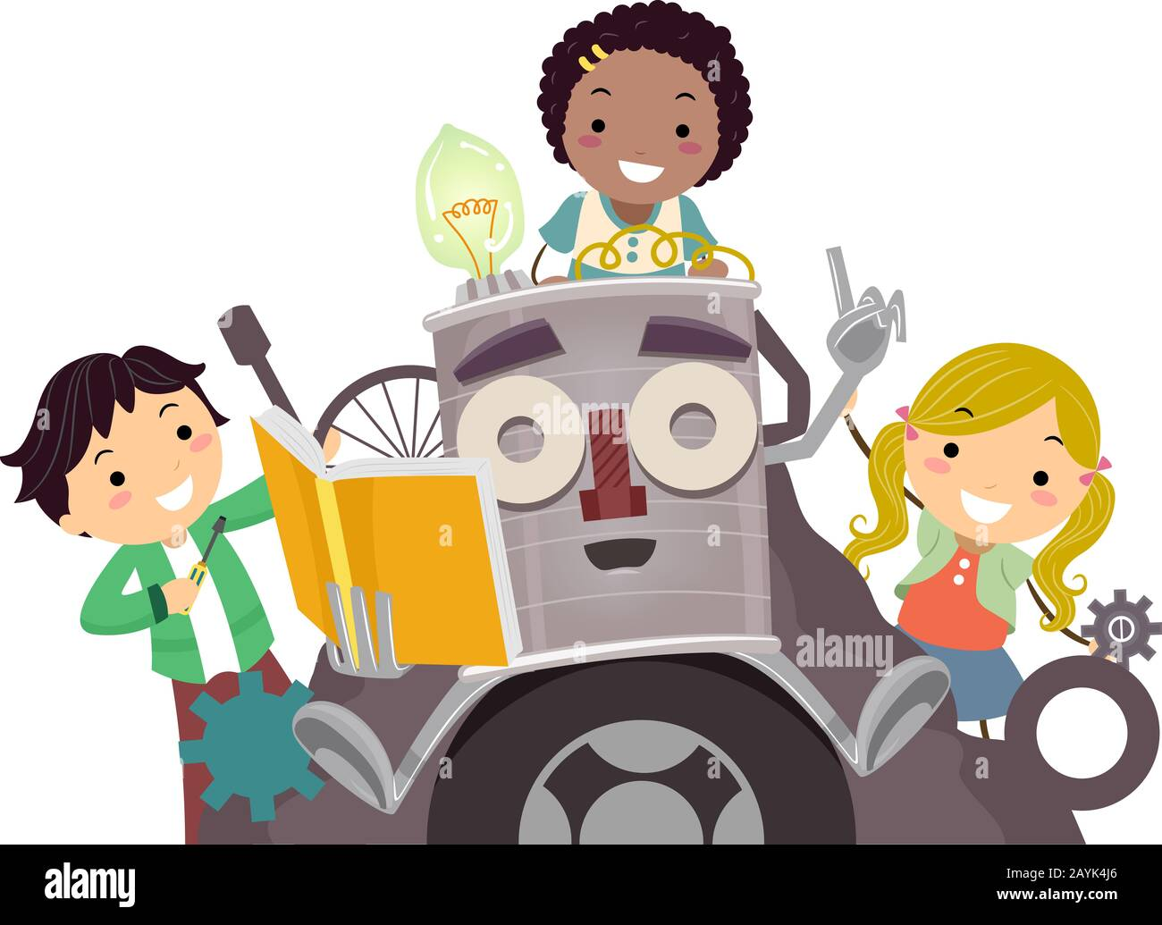 Illustration of Stickman Kids Riding a Junk Art Robot Holding a Book and Talking Stock Photo