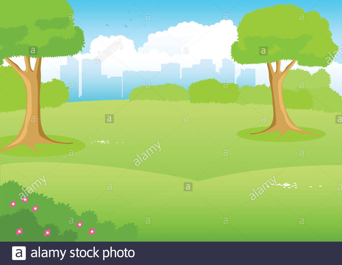 Cartoon Illustration Of A Park With Cityscape As The Background Stock Vector Image Art Alamy
