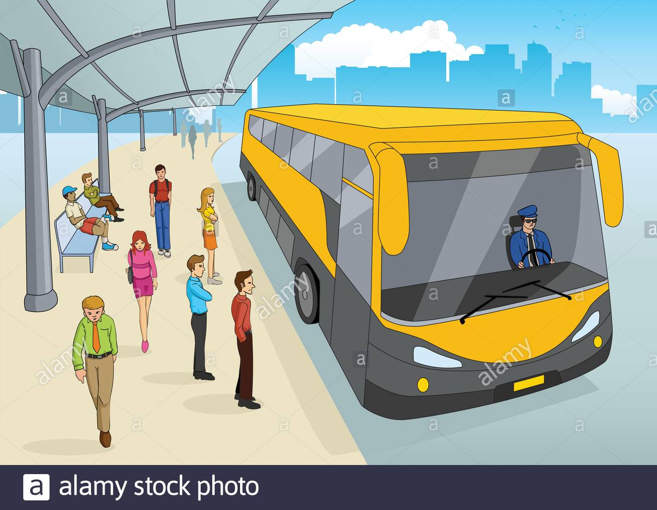 Cartoon Illustration Of A Bus Station Stock Vector Image Art Alamy